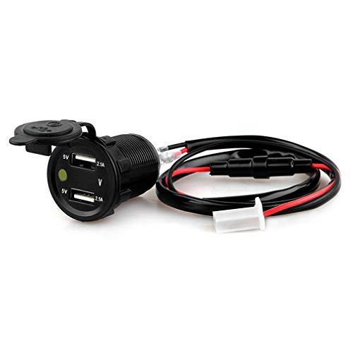 Dubbele USB-autolader Waterdichte motorfiets / voertuig / auto-voedingsadapter GPS-positionering 2.1A + 2.1A Motorlader zwart