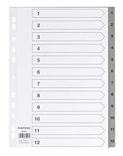 5er Set 12-teiliges Register/Trennblätter aus PP, DIN A4 mit Zahlen 1-12, volldeckend + praktischem Deckblatt aus stabilem Papier zum Beschriften. Trenn-Blätter für die Ordner-Organisation im Büro