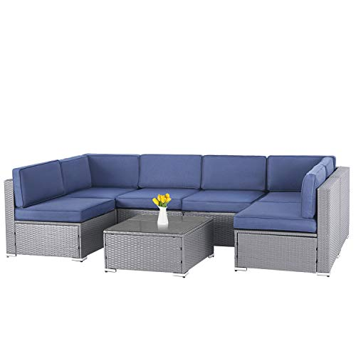 SOLAURA 7-Piece Outdoor Furniture Set, Gray Wicker Patio Furniture Modular Sectional Sofa Patio Conversation Set with Zipper & Coffee Table (Navy Blue)