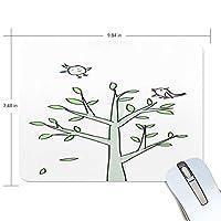 マウスパッド かわいい 子供絵 鳥 木 緑 キュート 高級 ノート パソコン マウス パッド 柔らかい ゲーミング よく 滑る 便利 静音 携帯 手首 楽