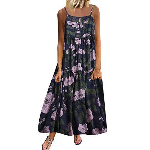 Lialbert Leinenkleid Damen Sommerkleider Lang Frauen Casual Kurzarm Kalt Schulter Boho Blumen Maxi Kleid Ärmellos Abendkleid Strandkleid Party Chiffon Lange Kleid