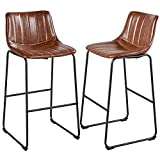 Yaheetech 30' High Dining Chairs Dining Room Chairs PU Leather Armless Chairs Kitchen Dining Living Room Chairs with Metal Legs Upholstered Indoor-Outdoor, Set of 2, Brown
