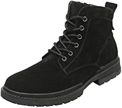 Xujw-shoes store, 2019 Mens New Lace-up Flats Ankle Boots for Men Combat Boots Lace Up Soft Durable Comfortable Leather Side Zipper Round Toe Stitching Low Heel Solid Color Platform Non-Slip Black