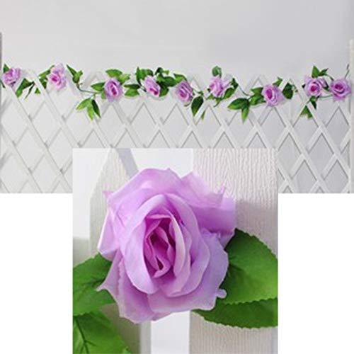 Oce180anYLVUK Vid De Flores Artificiales, 230 Cm De Flores Artificiales, Vid De Rosas, Guirnalda Colgante, Fiesta, Hogar, Boda, Decoración De Pared Morado