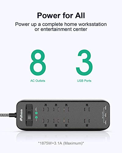 Surge Protector Power Strip, 2700Joules 6FT Braided Long Extension Cord with 8-Outlet/3-USB Charging Ports, 1875W/15A Overload Protection for Home Office 5