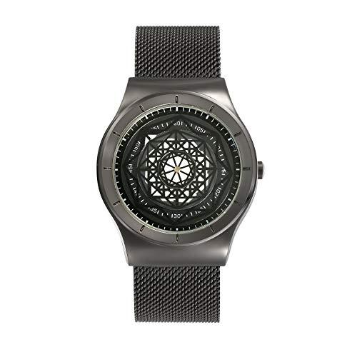 Avaner Stilvolle Herren Armbanduhr 2020, Analog Japanisches Quarzwerk mit Edelstahl Armband Kreative Geometrische Figur als Zeiger, arabische Ziffern, Modische Männer Watch
