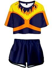 Silver Basic Dameskleding Sets My Hero Academia T-Shirt en Shorts 3D Print Himiko Toga Deku Todoroki Zomerpak