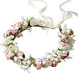HUIKJI Paquete de 2 diademas de flores para el pelo, corona de flores con cinta ajustable para novia, boda, festival, fiesta, flores y hojas