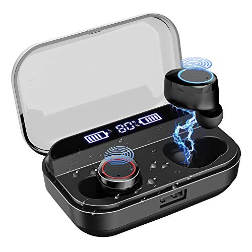 LAMA Bluetooth 5.0 Wireless Earbuds IPX7 Waterproof TWS Hi-Fi Stereo Headphones in-Ear, 4000mAH [Wireless Charging Case], Built-in Mic Headset Premium Sound with Deep Bass for Sport