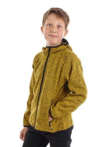 CMP – F.LLI Campagnolo Jungen Knit Tech Polyester-Strickfleecejacke mit Kapuze Fleece Jacket, Miele-Nero, 164