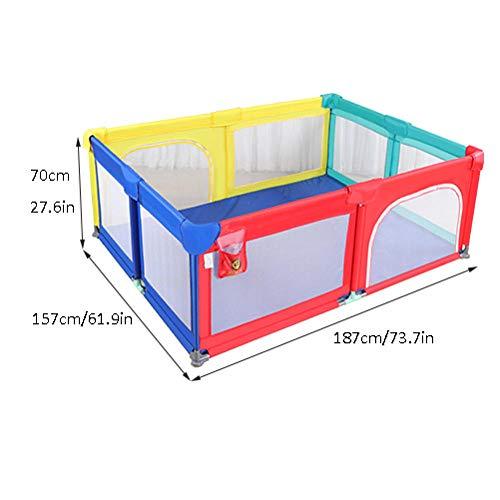 Vitila 32 sq ft RegenbogenfarbenBaby Reisebett mit Atmungsaktivem Netz,4 eckig Travel Cot für Kinder 10 Monate ~ 6 Jahre Alt