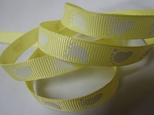 Grosgrain Ribbon - Yellow Baby Foot Print - 3/8' Wide - 10 Yards, Baby Shower Favors, Crafts!