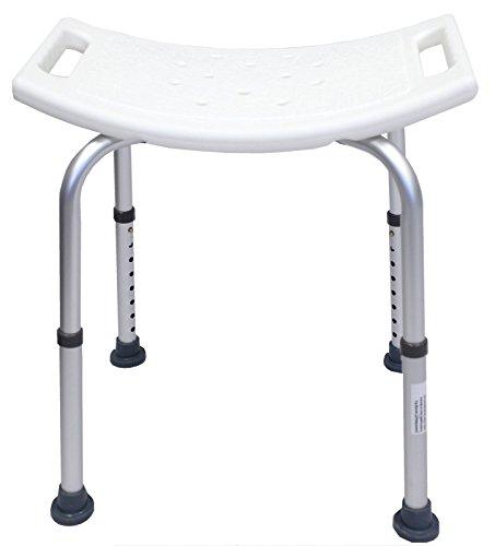 Baumarktplus Duschhocker Duschhilfe bis 150 kg Badhocker Badestuhl Duschstuhl Duschsitz Höhenverstellbar (Rechteckig) aus Alu und Kunststoff Duschhocker