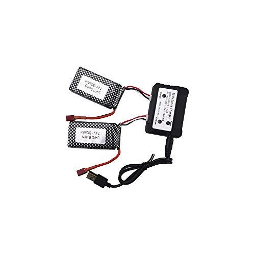 SZMYLED RC Auto Batterie Lipo High Speed Lithium Batterie mit T-Kopf 7,4V 1600mAh für High Speed Offroad 4WD 9125 1:10 2 Stück + Ladegerät