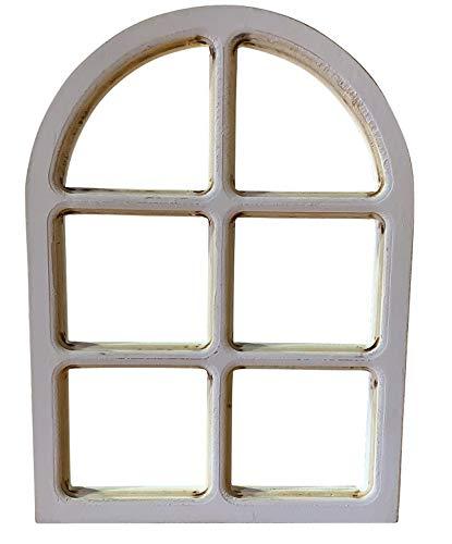 RiloStore XL Fenster aus Holz Weiss Shabby Chic Dekoration 38x28cm Dekofenster Hochzeitsdeko Hänger Blumendeko Floristik Wanddeko Fensterrahmen Nostalgie Wandschmuck