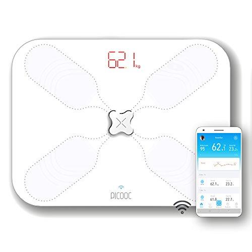 PICOOC S3 Lite Körperfettwaage WLAN, App, künstliche Intelligenz, extra breites Design, Körperanalysewaage für Körperfett Wasser Muskeln, Apple Android, weiß