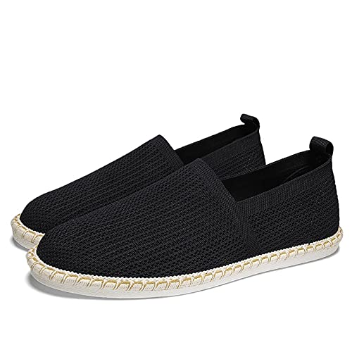 Haoooanfbx Alpargatas Hombre, Hombres Espadrilles resbalones en Mocasines,Zapatos de Lona Ligeros Hombres Zapatos Casuales,Zapatos de los Hombres (Color : Black, Shoe Size : 42)