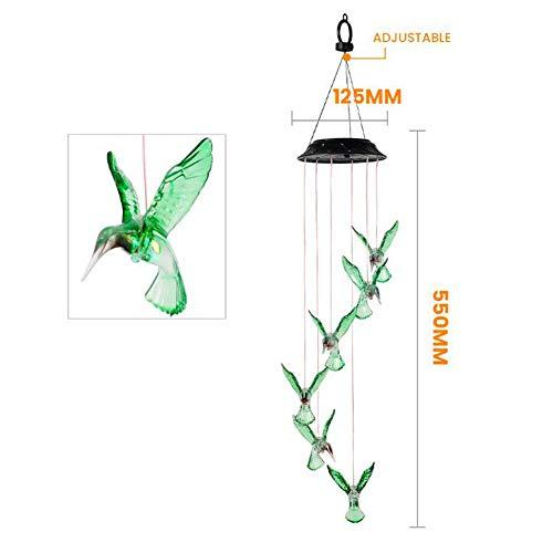 XW LED Solaire Étanche Wind Chimes, Multicolor Outdoor Hanging Cloche Vent, Ambiance Festive Lumière De Nuit, Couloir Arrière-Cour De La Maison Cadeau Déco,Hummingbird Model
