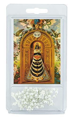 Ferrari & Arrighetti Rosario Perla Blanca 4 mm con oración a la Virgen de Loreto (Paquete de 3 Unidades)