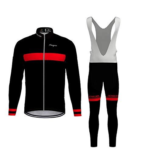 Hengxin Maillot Ciclismo Corto De Verano para Hombre, Ropa Culote Conjunto Traje Culotte Deportivo con 9D Almohadilla De Gel para Bicicleta MTB Ciclista Bici (Negro/Manga Larga, XXL)