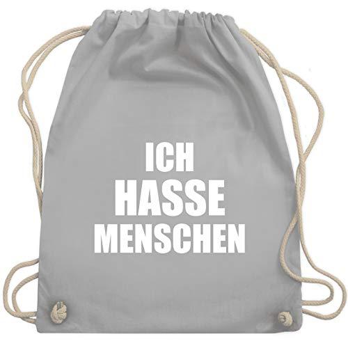 Shirtracer Sprüche - Ich hasse Menschen - Unisize - Hellgrau - beutel rucksack mit spruch - WM110 - Turnbeutel und Stoffbeutel aus Baumwolle