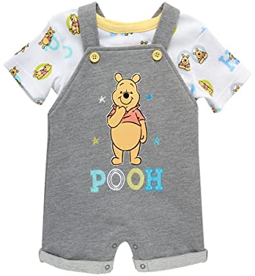 Disney Baby Boys' Overall T-Shirt Set Mickey Mouse, Lion King, Winnie The Pooh, Size 24 Months, Grey Multi Pooh Bear from