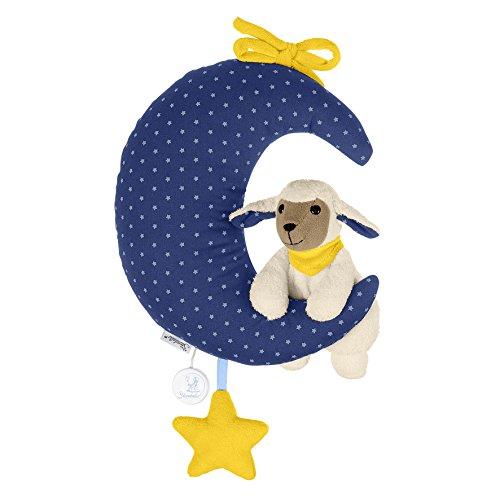 Sterntaler Peluche Musicale, Mouton Stanley en Peluche avec Lune, Boîte à Musique Remplaçable, Taille: L, Bleu/Blanc/Jaune