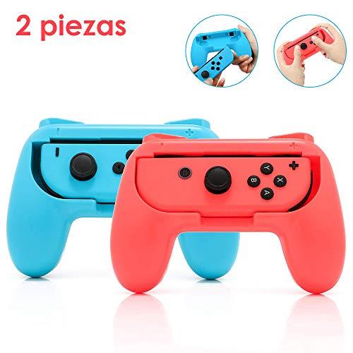 Nasjac Hand Grips para Nintendo Switch Joy-Con, manija resistente al desgaste para juegos de Nintendo Switch | Accesorios de Nintendo Switch, Diseño ergonómico paquete de 2 (rojo...