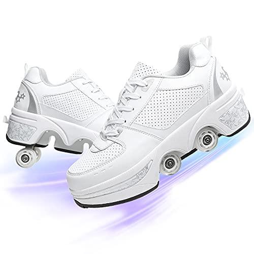 YUNWANG Schuhe 4 Rollen Rollschuhe Turnschuhe Doppelte Fahrbare Rollen Laufschuhe Sportschuhe Kinder Skateboard Junge Mädchen Skateboard
