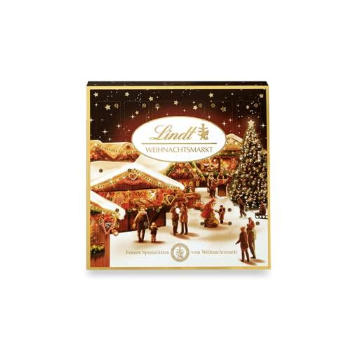 Lindt Weihnachtsmarkt Mini-Tisch-Adventskalender 2021 | 115 g Mini Schokoladen-Kugeln | Ideales Schokoladen-Geschenk