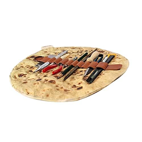 bysonice Burrito de simulación Rollo de lápiz Estuche para lápices de Cuero Agradable para la Piel Estuche para lápices de Gran Capacidad con Correa de fijación Estuche para lápices Multifuncional