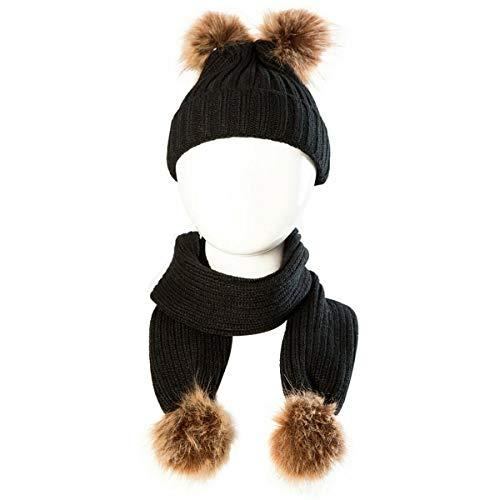 Qiraoxy 2 Unids/Set Beb Lindo Sombrero de Ganchillo de Punto Infantil Nio Cap Beanie Cap Y Bufanda Calentadores de Cuello Traje