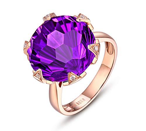 Blisfille Anillos de Diamantes de Oro de Verdad Joyería Anillo 18 Kilates de Amatista Anillo de Oro Rosa,Talla de 9,5 (Tamaño Personalizable)
