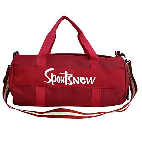 Allibuy Gym Bag Duffle Bag Gym Bag With Shoes Compartment And Wet Pocket Sports Travel Duffel Bag Gym For Men And Women Sports Bag Training Handbag Men Women (Color : Red, Size : 25 * 25 * 47cm)