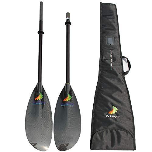 ZJ Sport Alte Prestazioni Leggero Carbonio Ocean Fibra Touring Sea Kayak Paddle con Albero Oval Carbon estendere 10cm Lunghezza(Stiff Verde Albero (100% Carbon), 200-210CM)