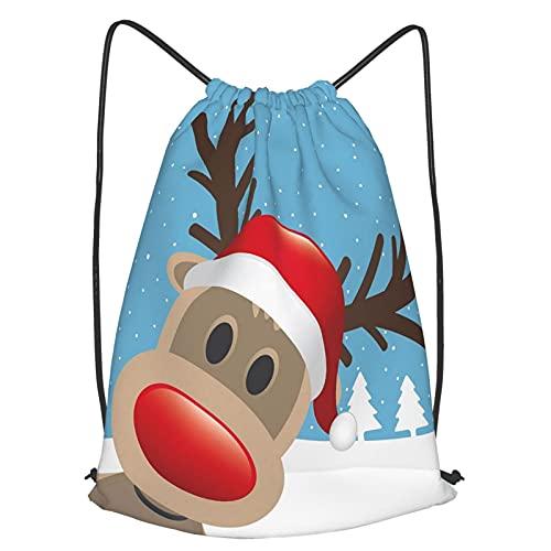 AndrewTop Mochilas de Cuerdas Unisex,Rudolph reno con nariz roja y gorro de Papá Noel Bosque nevado,Impermeable Mochila con Cordón,adulto Niños exterior Mochilas Casual,yoga Bolsas de Gimnasia