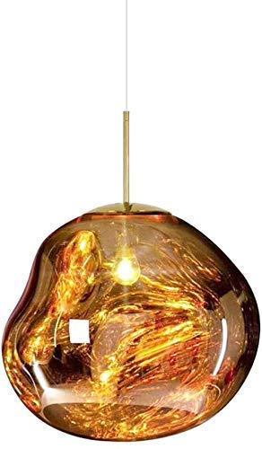 CAIMEI Lámpara Colgante de Vidrio de Forma Irregular Moderna Lámpara de Techo con Efecto de Fusión Creativa Pantalla Loft Bar Lámpara Colgante Cocina Restaurante Hotel Candelabro (Plata 30Cm) Candela