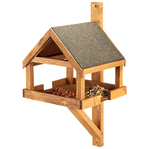Happy Beaks Wall Mounted Wooden Wild Bird Table Feeder for Garden, Large Feeding Tray for Seed Mixes