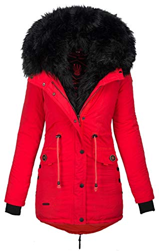 Navahoo 2in1 Damen Winter Jacke Parka Mantel Winterjacke warm Fell B365 [B365-Sweety-Rot-sF-Gr.S]
