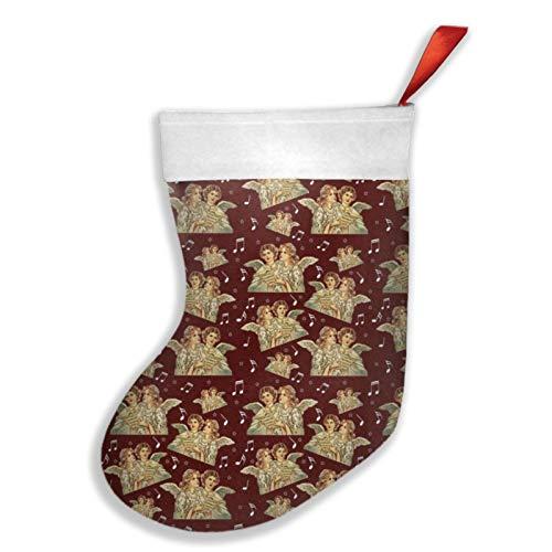 Art Fan-Design Weihnachtsstrumpf mit singenden Engeln, Weihnachtsstrumpf, Kamin, Baum, Socke, Geschenk, Dekorationen für Weihnachten, Party, für Familie, Urlaub, Party, Rot