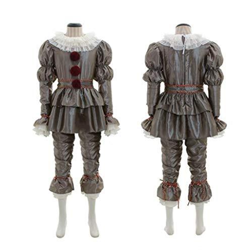 Disfraz de payaso para nios IT Disfraz de fiesta de Cosplay, Pennywise Cosplay disfraces de Halloween para nios y nias, Incluyendo top + pantalones + cinturn + cuello + pulsera + cadena de pierna