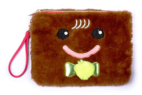 Tri-Coastal Design - Pluche Fuzzy Faux Fur All-Purpose Tote & Makeup tas/portemonnee - Toilettas/Cosmetische tas met oplichtneus Light Cookie