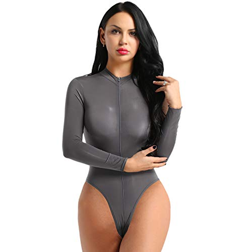 iEFiEL Damen Langarm Body mit Rollkragen Transparent Bodysuit Unterwäsche High Cut Thong Leotard Bikini Stringbody mit Zwei Reißverschluss Grau One Size