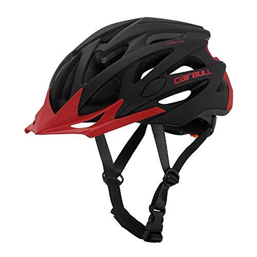 Cairbull AIRLITE Casco de Bicicleta para Hombres y Mujeres Casco de MTB Casco Deportivo recreativo con Red para Insectos, Casco de Bicicleta de Carreras de ala Larga (Negro Rojo, L)