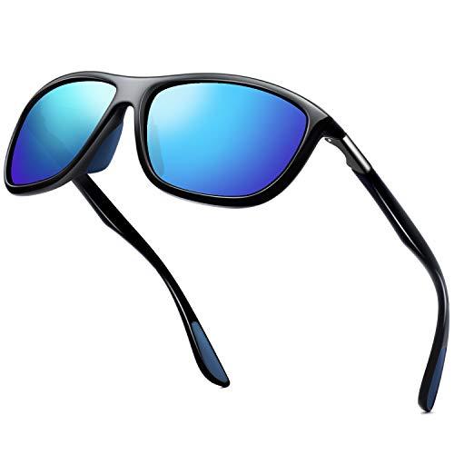 KANASTAL Sonnenbrille Herren Damen Sport Polarisierte Klassische Retro Rechteckige mit UV400-Schutz zum Angeln Radfahren Ski Golf Fahrt(Blau)