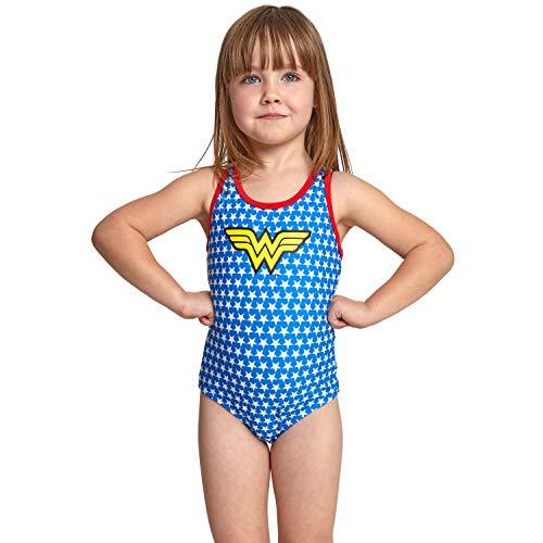 Zoggs Maillot de Bain Wonder Woman Dos Nageur pour Fille XXS Bleu/Multicolore.