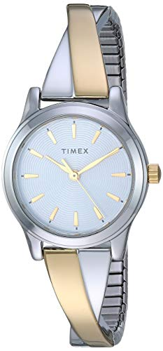 Timex Women's TW2R98600 Stretch Bangle Crisscross 25mm Two-Tone Expansion Band Watch