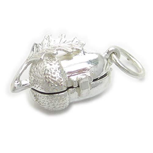 bellotas con la ardilla dentro de apertura de la plata encanto .925 x 1 charms EC192