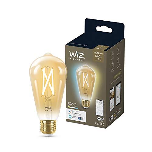 Wiz Bombilla Wifi LED Filamento Vintage Regulable Blancos ST64 50w E27 Luz blanca de cálida a fría, 2700-6500K, 6.7W (equivale a 50 W), A+