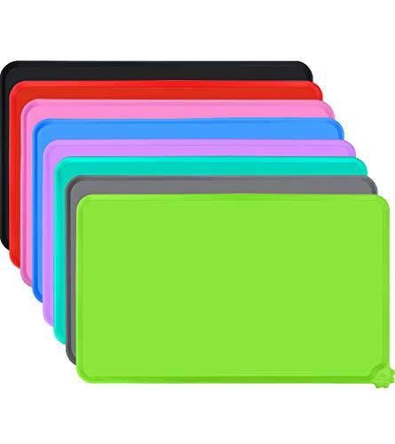 Joytale Silicone Tappetino Antiscivolo per Ciotola Cane, Impermeabile Tappetino per Gatti sotto Ciotola, Mantenere Pulito Il Pavimento,53×37cm, Verde